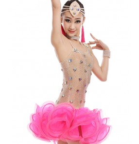 Girl Latin Dance Dress rumba samba Clothing Girls Salsa Dresses Girls Stage Wear Costumes kid's ballroom dressing