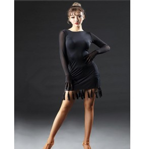 Black women's ladies long sleeves competition performance latin salsa cha cha dance dresses outfits costumes