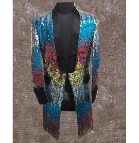 Fashion Turquoise Colorful Sequins Long Jacket Blazer Nightclub Bar Stage Show Male Singer Dancer Performance Costumes Coat
