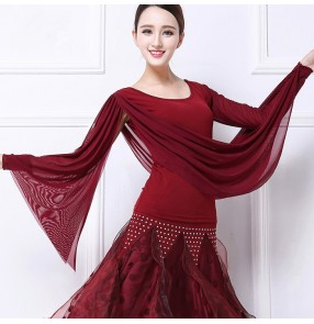 wine red  flamenco dance tops Square/Latin dance ballroom top blouse for female/women/girl costume performance wear training