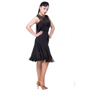 Black white lace latin dance dress women tango dress salsa rumba modern dance costumes wom latin dress dancing clothes Dancewear