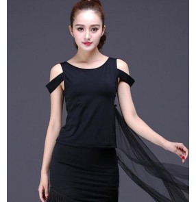 Fashion Adult Ballroom Costume dew shoulder Strap Sexy Latin dance tops for women female performance wear t shirts