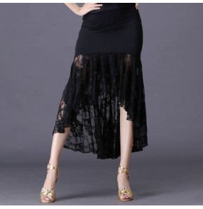 lace black Square dance dance skirt black performance skirt skirt safety pants Latin dance skirt