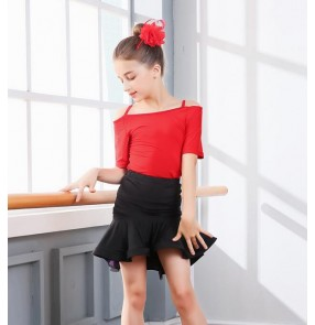 Black red floral Children Kids Gymnastics Latin Dancewear Competition Dancing Clothing Dance Costume Child Latin Dance Dress For Girls