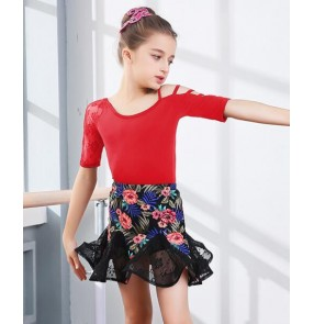 Floral Child Kid Children Latin Dance Dress For Girls Samba Stage Dress Dancing Dress Girl Latin Dancewear Performance Lace Costume