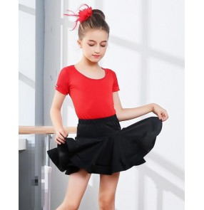 Girls Kids Children Modern Ballroom Latin Dance Dress Green gymnastics Salsa Tango Dance Wear Black Performance Stage Wear