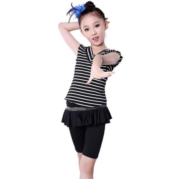 71b297a2a Black and white striped V neck Spandex Gymnastics Latin Dancing Dress Kids  Dance Wear Skating Dresses for Girls costumes