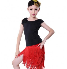Black and red zebra tassels Latin Dance Dress for Girls Fashion Ballroom Dancing Dress for Kids Dancewear Kids Stage Performance Costumes