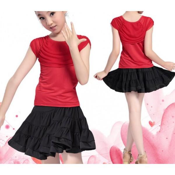 e44e5cad261 child Black and red Latin Dance Ballroom Girls Samba salsa dresses Costumes  Children tango dress for kids latino cha cha