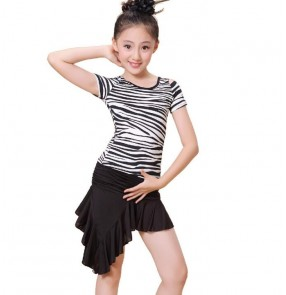 Red black zebra Child Latin Dance Dresses Kids Dance Costume Girl Modern Dance Dres Vestido Waltz Stage Dance Clothing