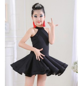 Girl backless Latin Dance Dress Children Ballroom Dance Dresses Kids Salsa Rumba Cha Cha Samba Tango Dress