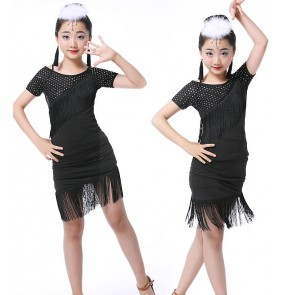 Girls Kids Children Modern Ballroom Latin Dance Dress Fringe Salsa Tango Dance Wear Black Performance Stage Wear