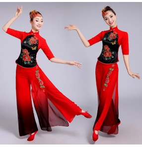 Red with black gradient colored Chinese Folk Dance Performance Costumes fan drummer dance New Classical Dance Folk Dance Dress