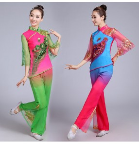 Green fuchsia Oriental dance costumes dress traditional chinese folk dance costumes women yangko fan dance costumes
