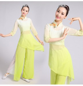 yellow gradient traditional costume dance clothes Ancient princess dress stage performance clothing Chinese folk dance costume