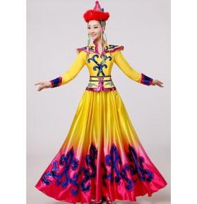 Mongolian Costume Stage performance clothing Dance skirt gown Yellow Mongolian Dance Costume Minority folk dance Clothing Apparel