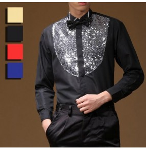 Trendy Black red royal blue Stage Performance Sequins Shirt Long Sleeve Ballroom Dance Costumes Men Shirt Latin Modern Dance Clothing
