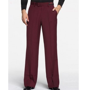 latin dance pants men's wine black striped trousers ballroom mens ballroom dance pants for men costumes tango pants men dancewear