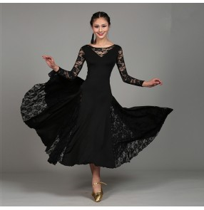 Ballroom Lace Dance Dresses High Quality Long Sleeve Flamenco Costume Women green red black royal blue Cheap Stage Ballroom Dress