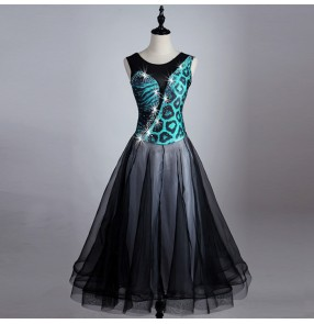 Turquoise black patchwork  ballroom dance dresses standard ballroom dancing clothes Competition standard dance dress waltz foxtrot dresses