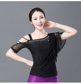 Fashion Adult Ballroom Costume Spaghetti Strap Sexy Latin dance top for women/female Vogue short-sleeve performance wear