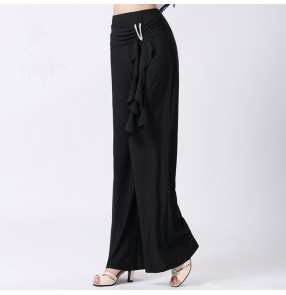 Black Ballroom Dance Wear Modern Dance wide leg Pants Dance Flamenco Vestido De Baile Latino Latin Dance Pants Jazz Waltz Tango
