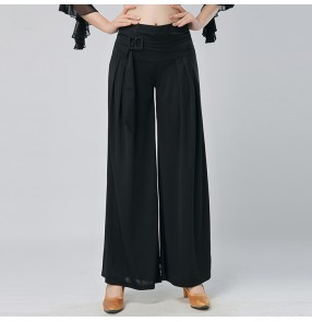 new Fashion women's swing  ballroom summer waltz dance pants trousers wide leg pants National dance pants leg swing loose tide