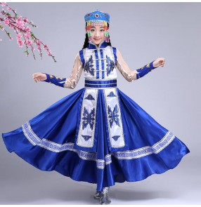Child kids red royal blue Mongolian Costume for girls Stage Dance Chinese Ethnic Mongolian Dance Dress robes Chinese Minority Clothing Apparel outfit