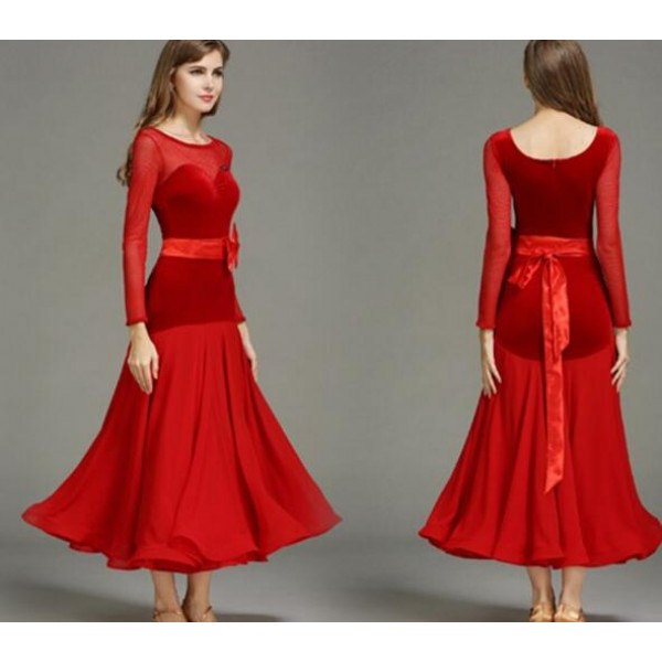 45be5bf8e96e Black red velvet Ballroom Dance Dresses Standard Stage Costume Performance  Women Smooth Ballroom Dress Modern Waltz Tango dresses