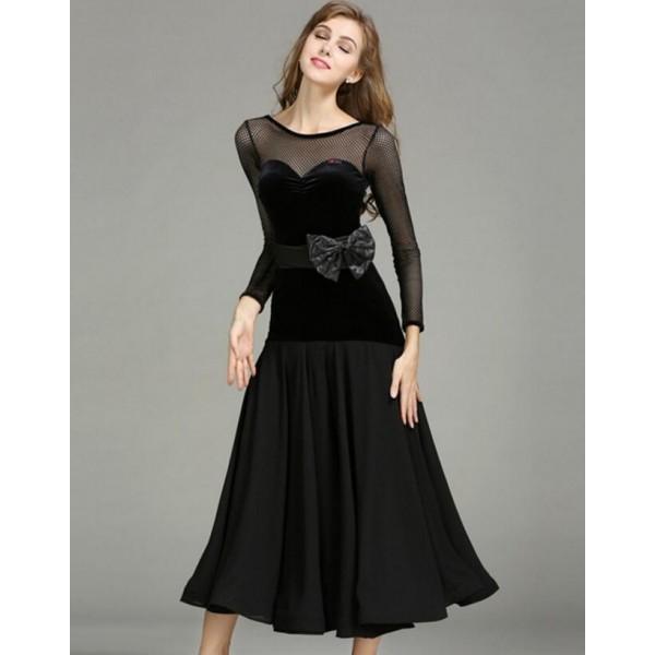 6f09b8b31fc Black red velvet Ballroom Dance Dresses Standard Stage Costume Performance  Women Smooth Ballroom Dress Modern Waltz Tango dresses
