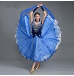 Royal blue Ballroom dance costumes sexy senior rhinestones sleeveless ballroom dance dress for women ballroom dance competition dresses