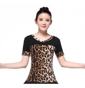 Black and leopard printed patchwork short sleeves competition performance latin salsa dance tops blouses