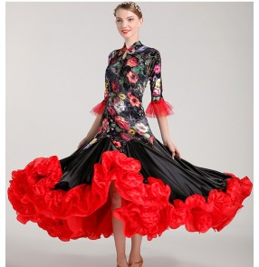Black and red floral flowers velvet woman Competition ballroom Standard dance dress dance clothing stage flamenco ballroom dress