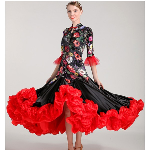 1690e68b8a5 Black and red floral flowers velvet woman Competition ballroom Standard dance  dress dance clothing stage flamenco ballroom dress