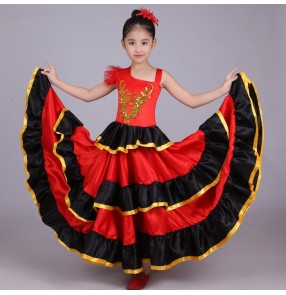 Black and red patchwork gold r big skirted  girls kid school competition flamenco ballroom Spanish bull dance dresses