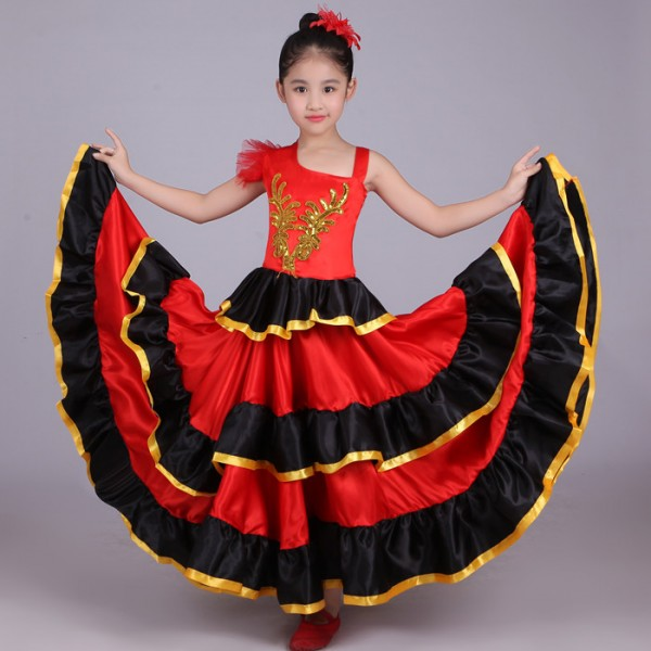 Black Red Patchwork Gold Big Skirted Girls Kid School Competition