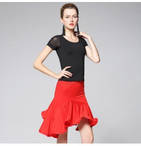 Black and red patchwork short sleeves performance competition professional women's ladies latin salsa dance dresses