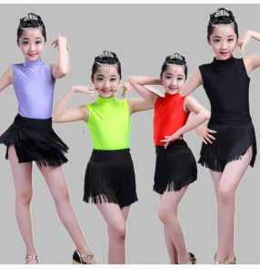 Black and red purple green patchwork fringes tassels girls performance competition leotard and skirt latin salsa dance dresses