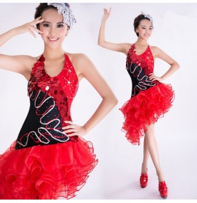 Black and red sequins paillette modern dance competition women's ladies performance latin salsa dance dresses