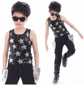 Black and silver sequins patchwork boys kids children performance hip hop jazz singers host drummer dancing vest harem pants