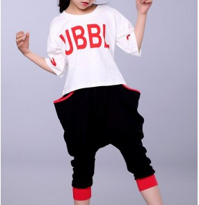 Black and white fashion boys kids children girls toddlers twinset competition performance jazz hip hop dance sports costumes