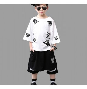 Black and white fashion boys kids children kindergarten school stage performance jazz hip hop dance costumes outfits