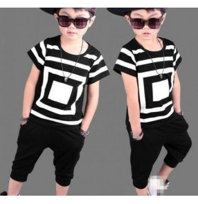 Black and white geometry printed short sleeves boys kids children fashion hip hop jazz dance tops and harem pants