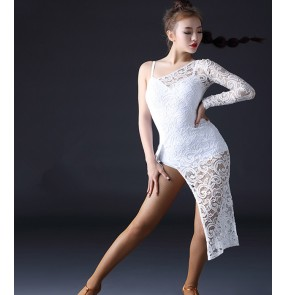 Black and white lace one shoulder irregular hem competition professional women's ladies latin rumba samba dance dresses