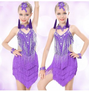 Black and white purple fuchsia fringes rhinestone competition performance girl's children kids latin ballroom dance dresses
