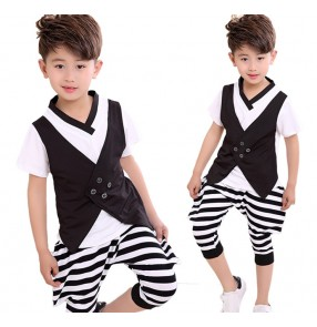 Black and white striped fashion boys kids children kindergarten toddlers jazz hip hop singers dance outfits costumes