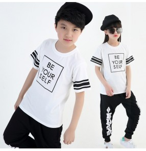 Black and white striped girls kids children boys street dance jazz sports hip hop dance costumes outfits