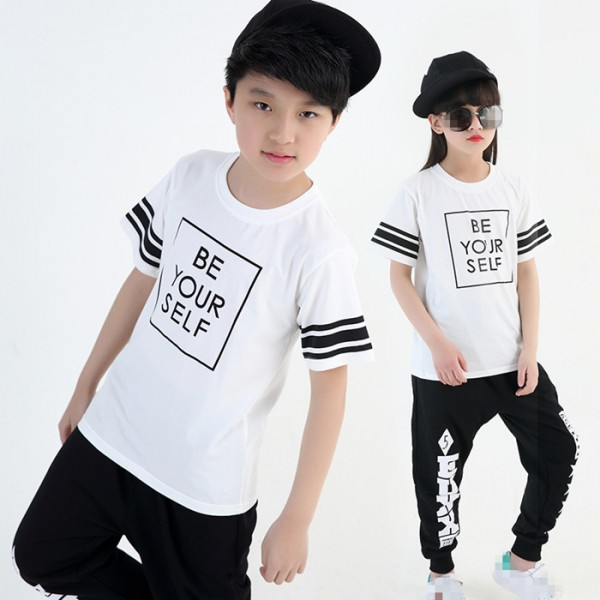 d737ecc76 Black and white striped girls kids children boys street dance jazz ...
