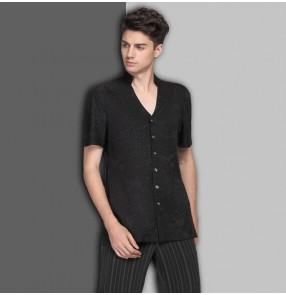Black and white striped short sleeves competition performance men's male latin ballroom dance tops shirts