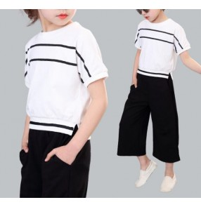 Black and white striped twinset patchwork girls kids children cotton competition performance jazz hip hop sports outfits costumes